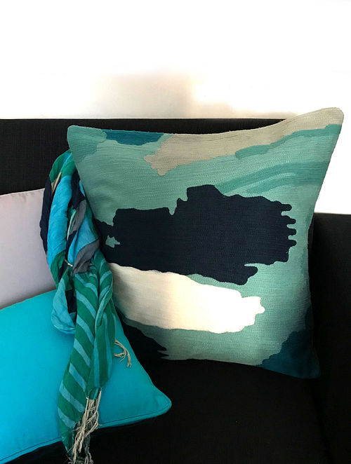 Petricia Luxe Aqua Hand Crafted Embroidered Cotton Cushion Cover (20in x 20in)