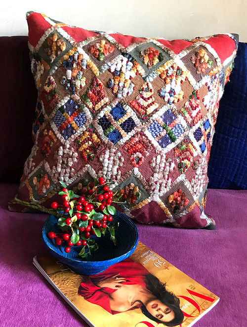 Pietra Luxe Multicolor Hand Crafted Embroidered Silk Cushion Cover (20in x 20in)