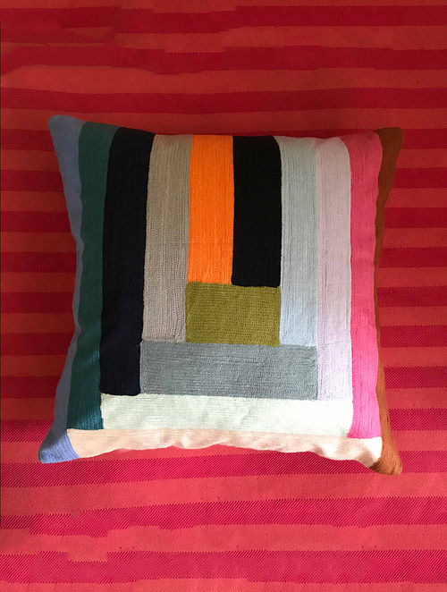Paloma Luxe Multicolor Hand Crafted Embroidered Cotton Cushion Cover (20in x 20in)