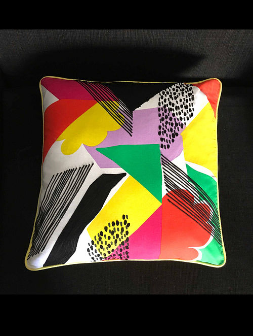 Kaliedoscope Of Colors Multicolor Hand Crafted Embroidered Cotton Cushion Cover (20in x 20in)