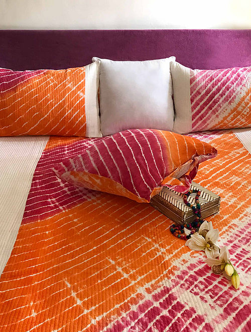 Bianca Shibori Shabang Fuchsia-Multicolor Quilted Cotton Bedcover Set (Set of 3)