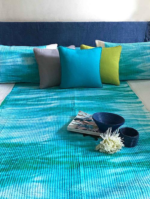 Balarina Shibori Shabang Aqua and Off White Cotton Quilted Bedcover Set (Set of 3)
