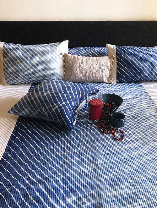 Bazurina Shibori Shabang Indigo and Off White Quilted Cotton Bedcover Set (Set of 3)