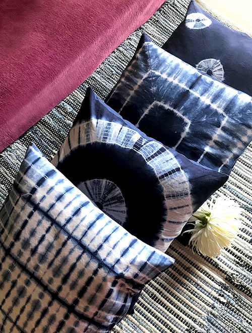 Jellen Shibori Indigo and White Cotton Cushion Covers (Set of 4) (16in x 16in)