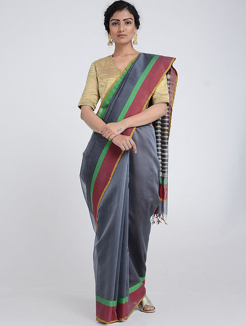 Grey-Red Silk Cotton Saree