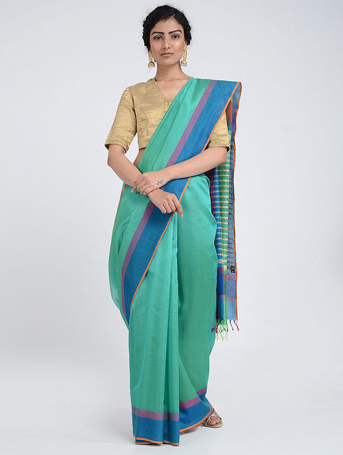 Green-Blue Silk Cotton Saree