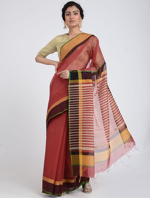 Red-Maroon Silk Cotton Saree