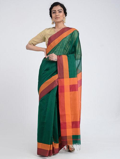 Green-Orange Silk Cotton Saree