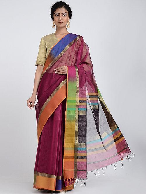 Multicolored Ikat Silk Cotton Saree with Zari