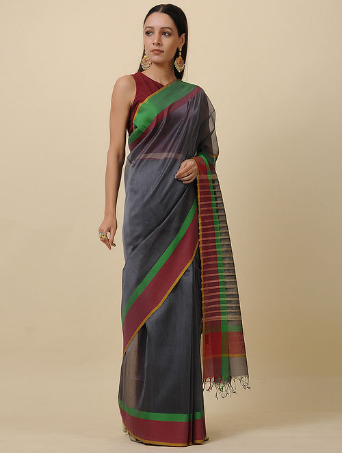 Grey-Green Handwoven Silk Cotton Saree