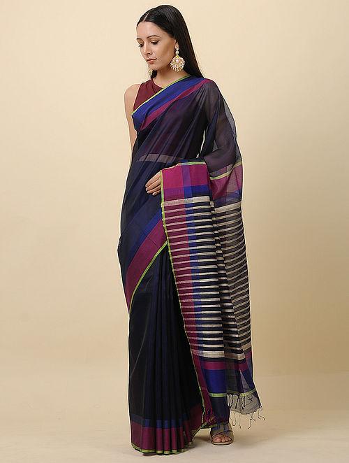 Black-Blue Handwoven Silk Cotton Saree