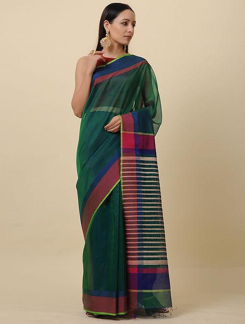 Green-Red Handwoven Silk Cotton Saree