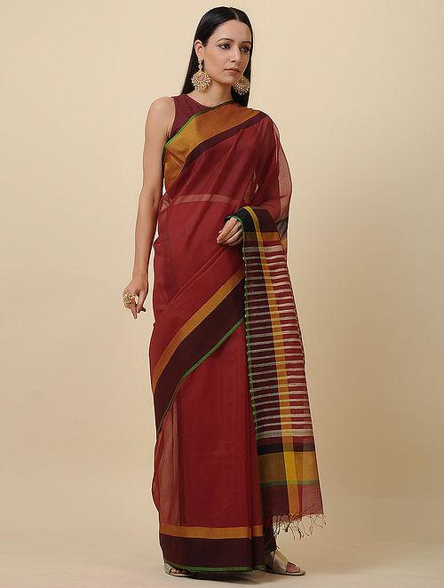 Red-Black Handwoven Silk Cotton Saree