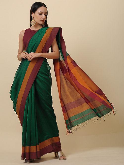 Green-Maroon Handwoven Silk Cotton Saree