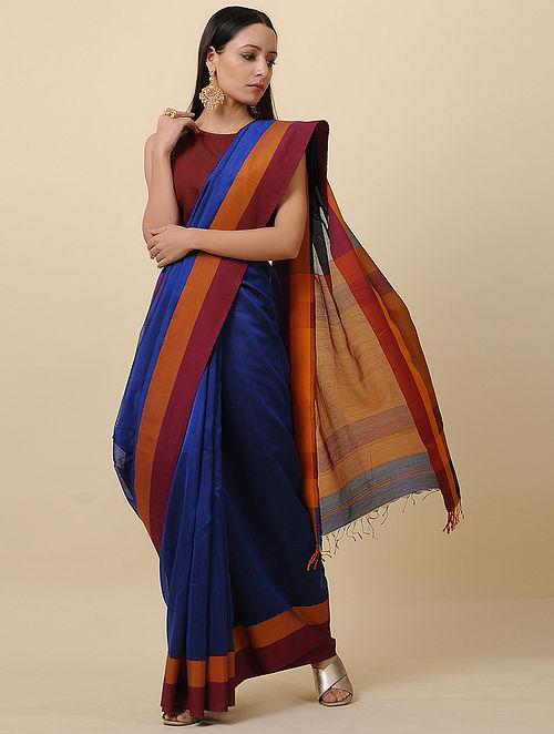 Blue-Maroon Handwoven Silk Cotton Saree