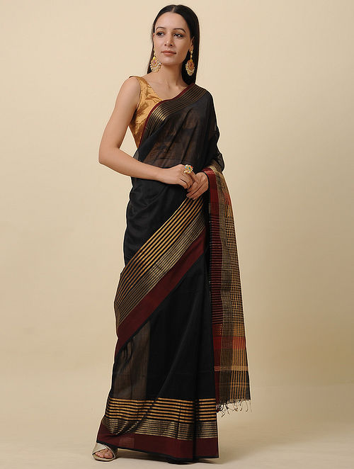Black-Maroon Handwoven Silk Cotton Saree with Zari