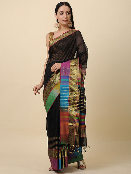 Black Handwoven Ikat Silk Cotton Saree with Zari