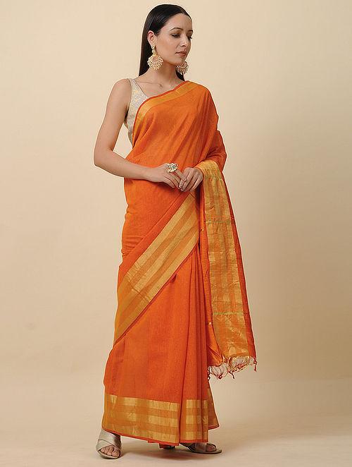Orange Handwoven Silk Linen Saree with Zari