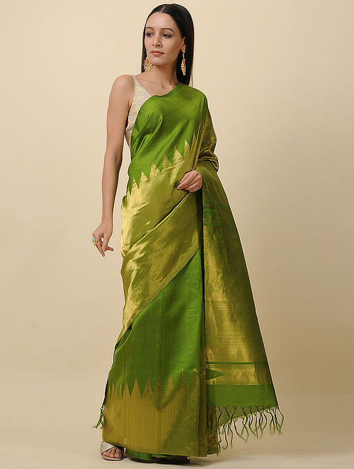 Green Handwoven Tissue Silk Saree with Zari