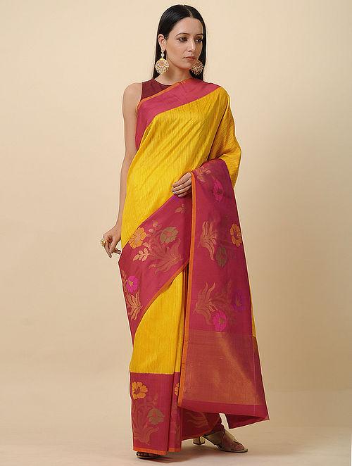 Yellow-Pink Handwoven Silk Saree with Zari