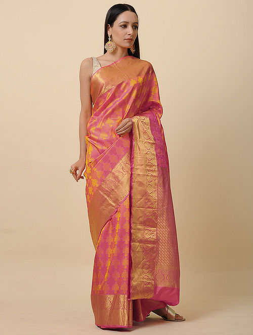 Pink-Yellow Handwoven Silk Saree with Zari