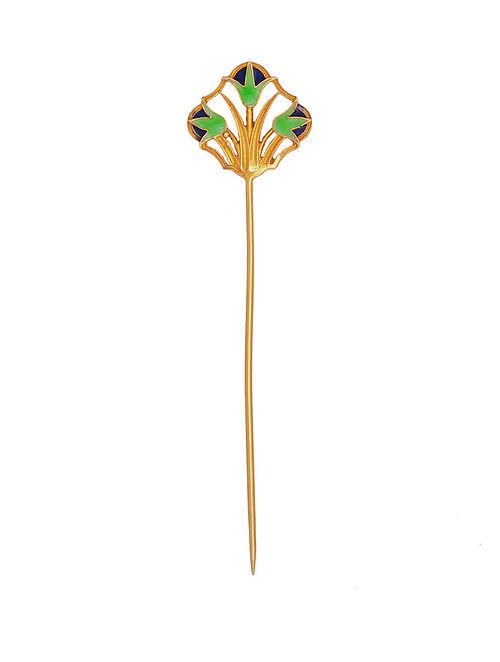 Green Enameled Gold Tone Silver Lapel Pin