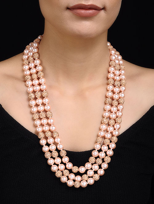Pink Pearl Beaded Necklace