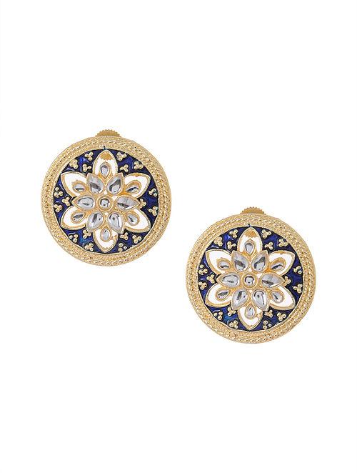 Blue Gold Tone Meenakari and Jadau Earrings