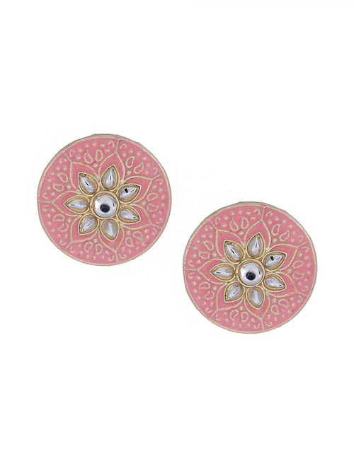 Pink Gold Tone Enameled Earrings