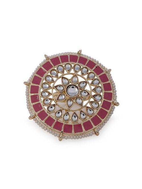 Pink Gold Tone Kudan Enameled Ring