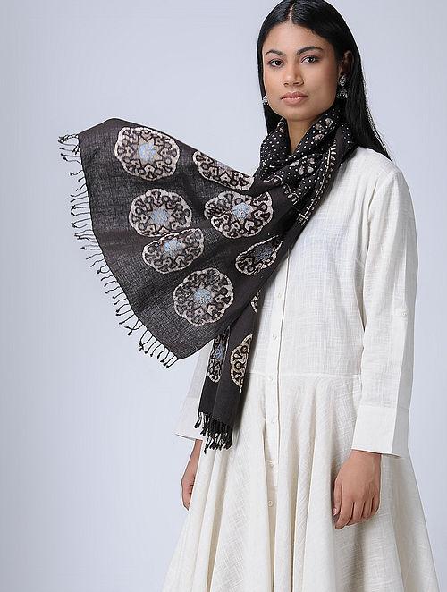 a96880e4bbc Black-Blue Natural-dyed Batik Block-printed Organic Kala Cotton Stole  Apparel
