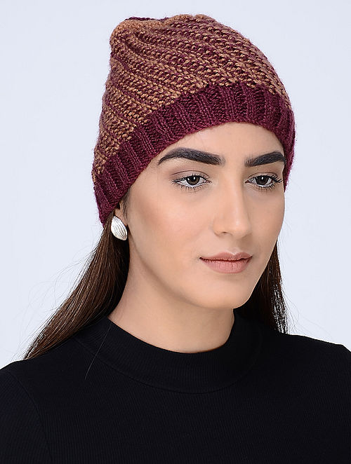 ffe859c4fb5 Buy Burgundy-Peach Hand Knitted Wool Cap Online at Jaypore.com