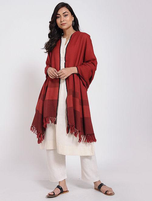 Red Merino Wool Shawl
