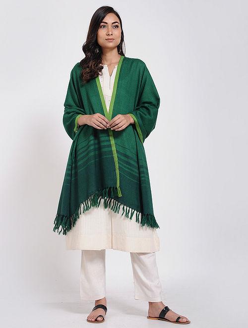 Green Merino Wool Shawl