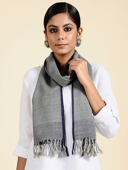 Grey Handwoven Merino Wool Scarf