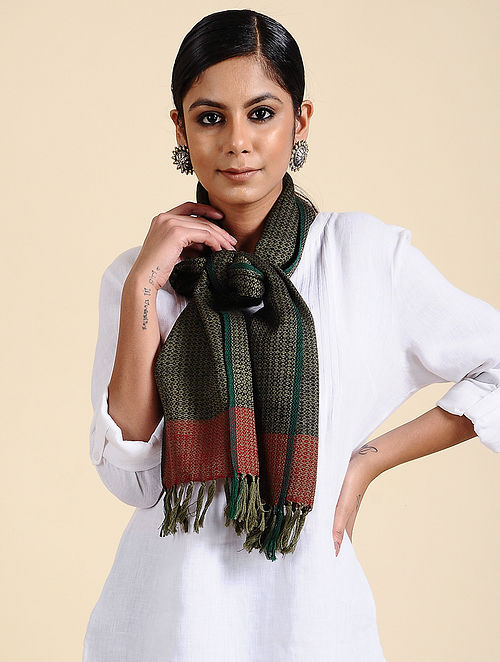 Black-Green Handwoven Merino Wool Scarf
