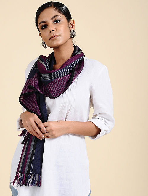 Purple-Blue Handwoven Merino Wool Scarf