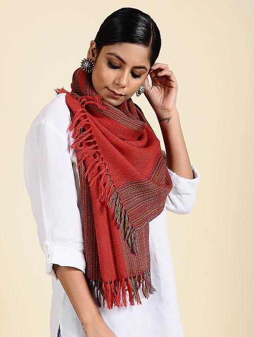 Red Handwoven Merino Wool Stole
