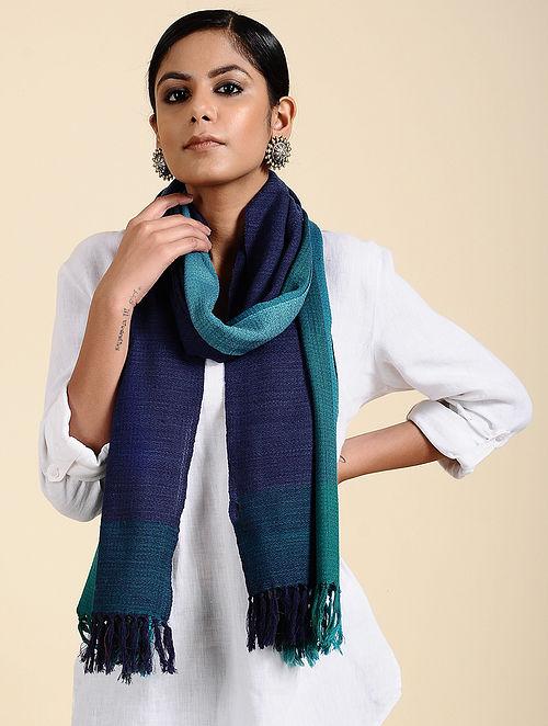 Blue Handwoven Merino Wool Stole