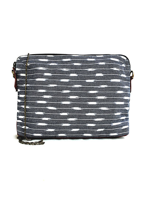 Grey Ikat Hand-Printed Cotton Sling cum Pouch