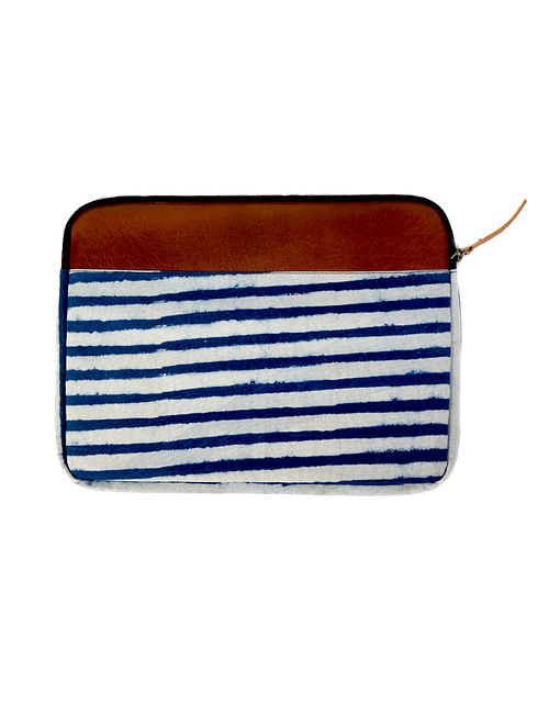 Tan-Indigo Dabu Hand-Printed Cotton and Leather Laptop Sleeve