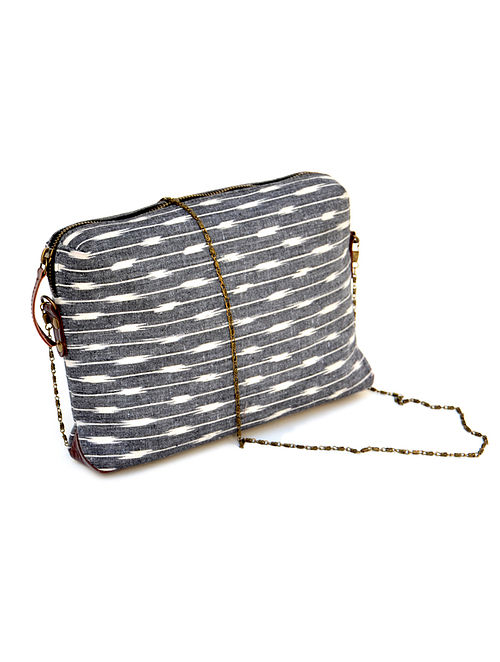 Grey-White Ikat Hand Printed Cotton Sling Bag cum Pouch