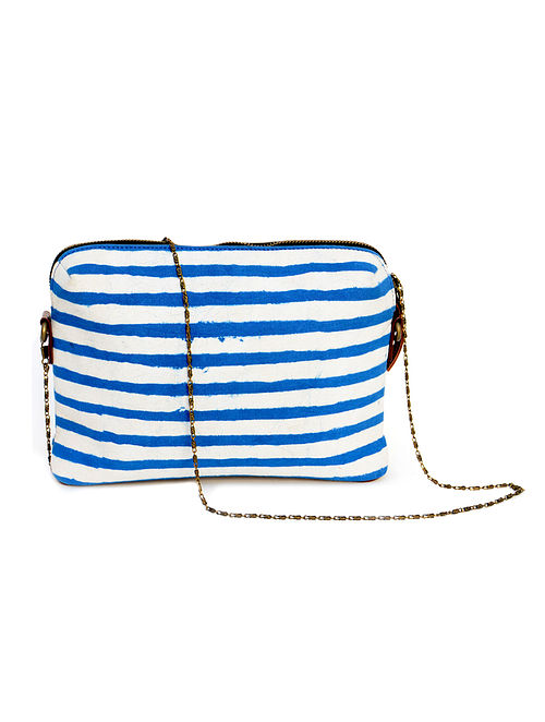 Blue-White Dabu Hand Printed Cotton Sling Bag cum Pouch