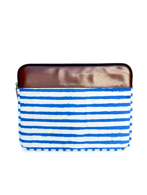 Blue-White Dabu Hand Printed Cotton Laptop Sleeve