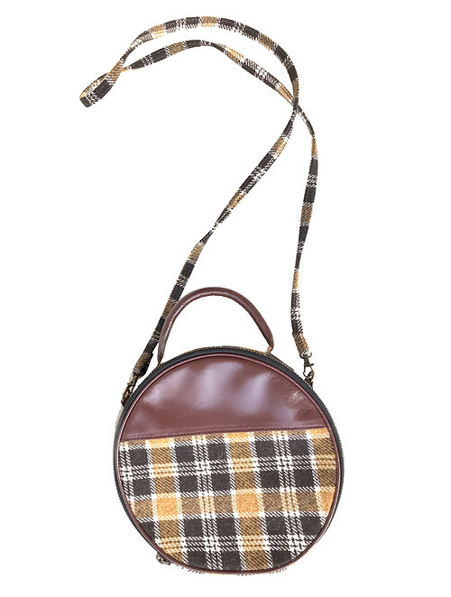 Tan-Multicolored Wool and Leather Sling Bag Cum Handbag