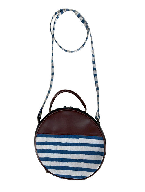 Tan-Blue Cotton and Leather Sling Bag Cum Handbag