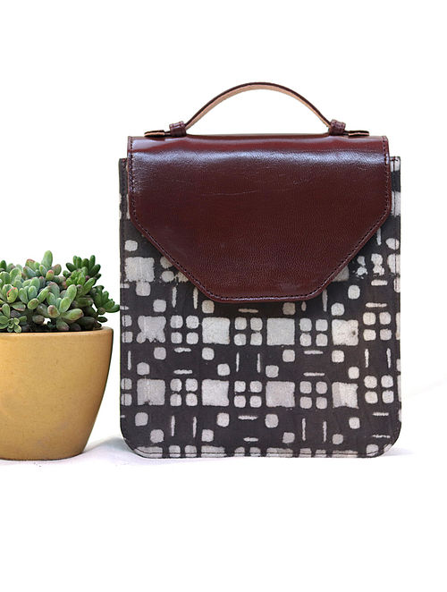 39b878b7c9 Buy Brown-White Cotton and Leather Hand Bag Cum Sling Bag ...