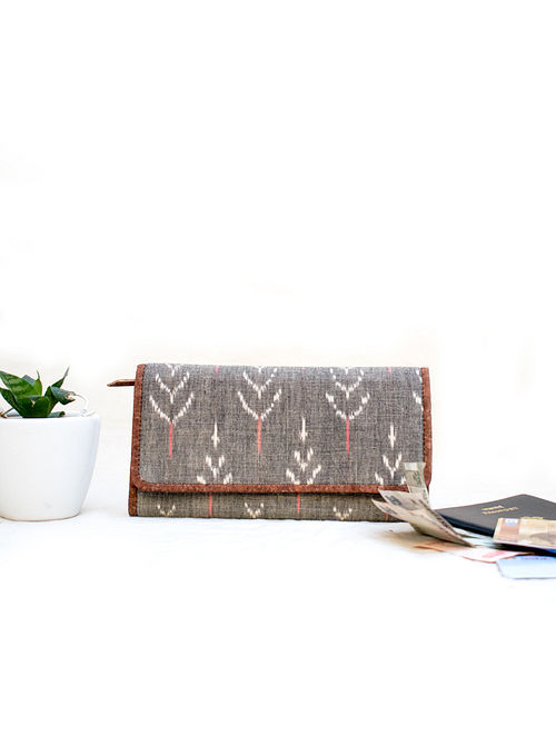 Grey Cotton and Leather Wallet