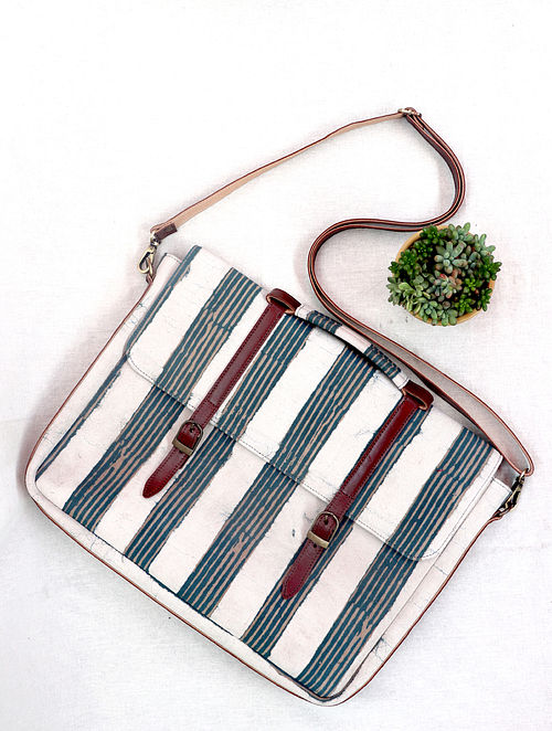 White Blue Cotton and Leather Laptop Bag