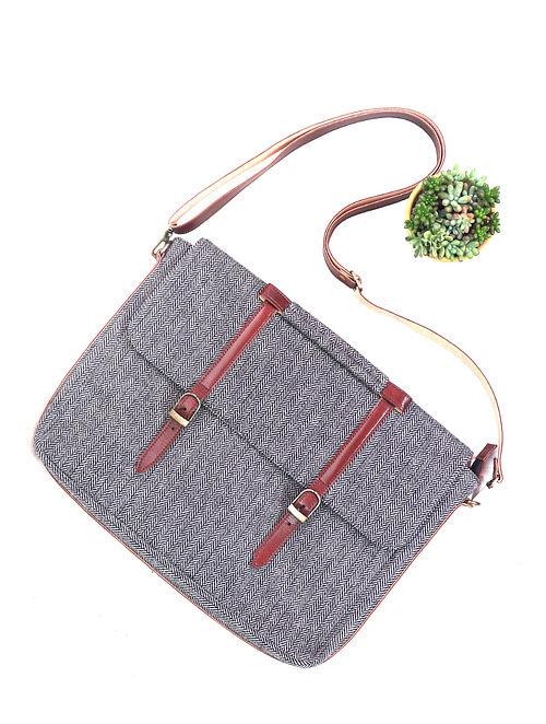 Grey Leather Wool Laptop Bag